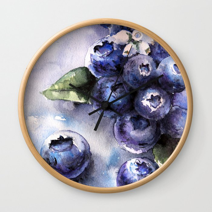 Watercolor Blueberries - Food Art Wall Clock