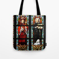 stained glass Tote Bags featuring Stained glass by Marieken