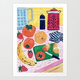 Persimmon Salad Art Print