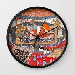 16th Century India Watercolor Painting Wall Clock