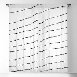 Cool gray white and black barbed wire pattern Blackout Curtain