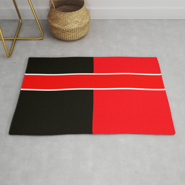Team Colors 6 Red Black White Rug By Beckybetancourt
