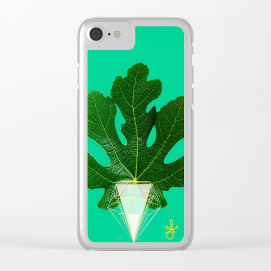 Fig Leaf Diamond Christmas Tree Clear iPhone Case