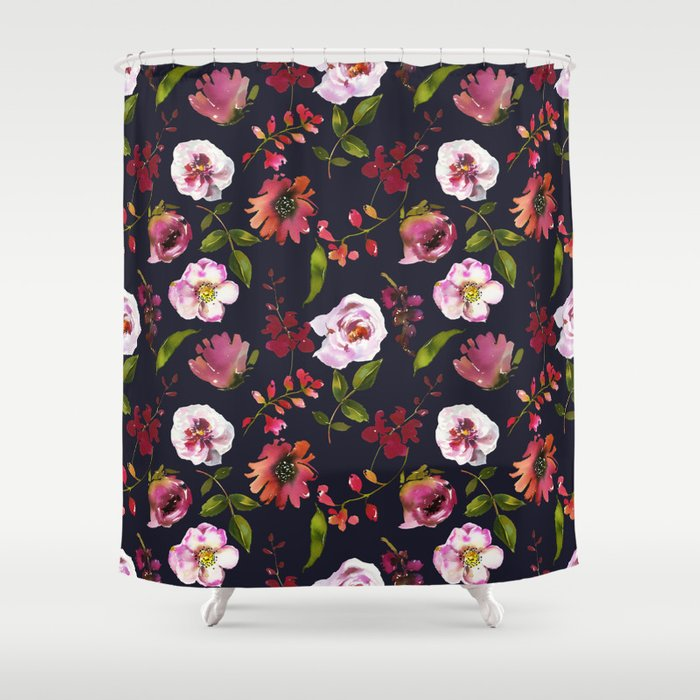 School Dayz Vintage Floral Watercolor Shower Curtain