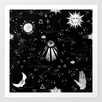 spiritual Art Prints featuring Spiritual Alchemy by Deborah Panesar Illustration