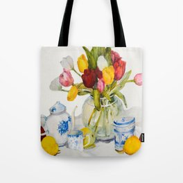 Tulips with Blue and White China  Tote Bag