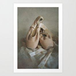 Creamy pointe ballet shoes Art Print