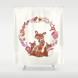 FOX & FLOWERS Shower Curtain