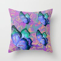 butterflies Throw Pillows featuring butterflies by Shea33