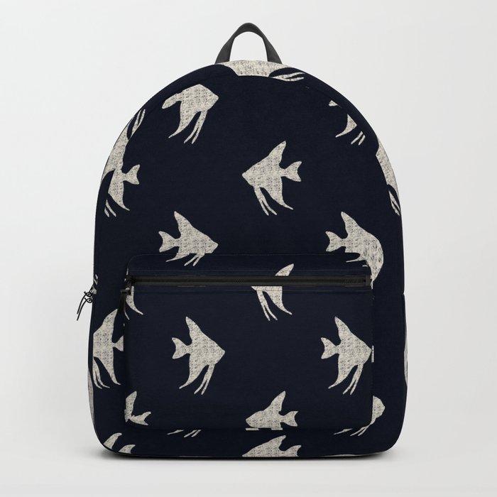 Navy blue maritime sea fish pattern Backpack