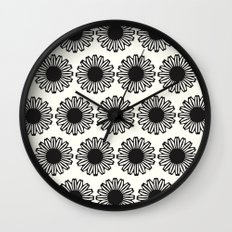 vintage flowers black Wall Clock