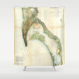 San Diego Bay 1857 Shower Curtain