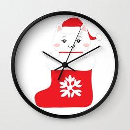 Cat in xmas sock Wall Clock