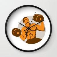 crossfit Wall Clocks featuring Strongman Crossfit Lifting Dumbbells Circle Retro by patrimonio