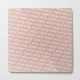 New York, USA Trendy Rainbow Text Pattern (Pink) Metal Print