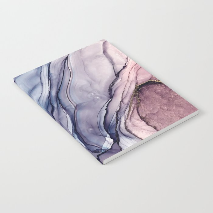 Slate Purple and Sparkle Flowing Abstract Notebook