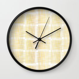 Luxe Gold Criss Cross Weave Hand Drawn Vector Pattern Background Wall Clock