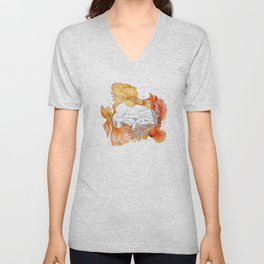 Cat and Golden Fishes Unisex V-Neck