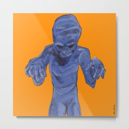Monster between the wall and the filing cabinet Metal Print