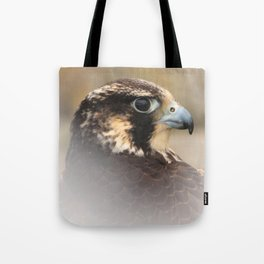 Vignetted Profile of a Peregrine Falcon Tote Bag