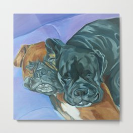 Boxer Buddies Dog Portrait Metal Print