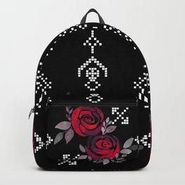 Ethnic red black pattern Backpack