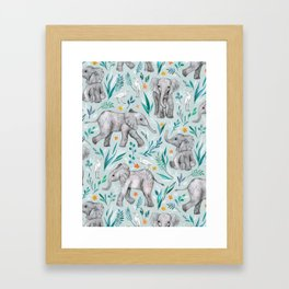 Baby Elephants and Egrets in Watercolor - egg shell blue Framed Art Print