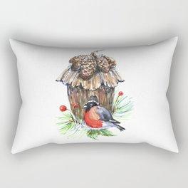 Bullfinch in the background of a cozy bird house. Rectangular Pillow