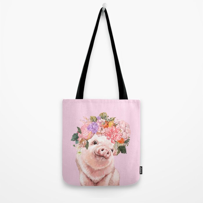 Baby Pig with Flowers Crown Tote Bag