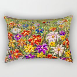BUY PAINTING SUMMER FLORAL MULTICOLORED FLOWER FIELD - ORIGINAL OIL PAINTING Rectangular Pillow