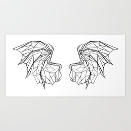 Polygonal Dragon Wings Art Print