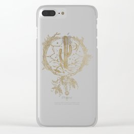 Desert Cactus Dreamcatcher in Gold Clear iPhone Case
