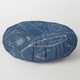 Toy Sailboat Blueprint Floor Pillow