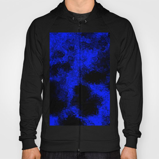 Blue neon and black modern decorative abstract design  Hoody