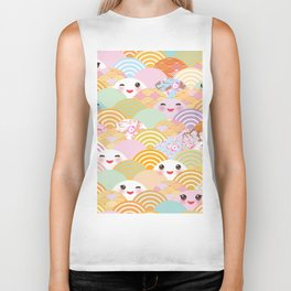 seamless pattern Kawaii with pink cheeks and winking eyes with japanese sakura flower Biker Tank