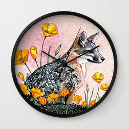 Channel Island Fox (Sunset Sky) Wall Clock