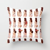 pizza Throw Pillows featuring Girl & Pizza by Kimiaki Yaegashi