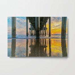 Under Huntington Pier at Sunset Metal Print