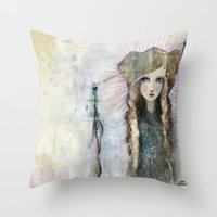 jane davenport Throw Pillows featuring Gesso Geisha by Jane Davenport by Jane Davenport