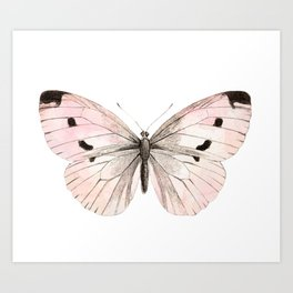 Butterfly flutter - soft peach Art Print