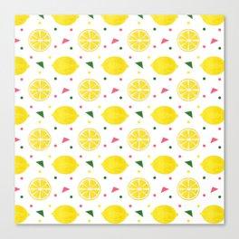 Sunshine yellow watercolor tropical lemon triangles dots pattern Canvas Print