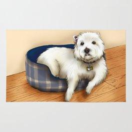 Dexter the Westie in His Doggie Bed Rug