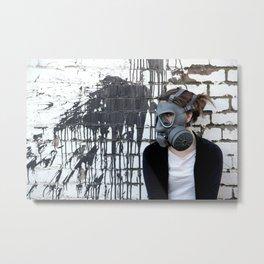 Gas Mask Girl Metal Print