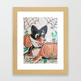 Corgi Halloween Framed Art Print