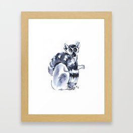 Funny cute lemur Framed Art Print