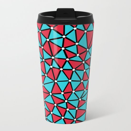 African Triangles Red and Blue Metal Travel Mug