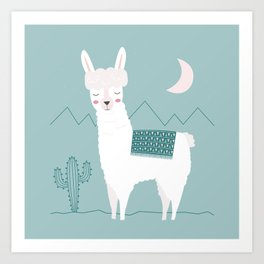 Alpaca In The Mountains Art Print