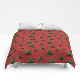 Sparkly Christmas tree green sparkles pattern on Red Comforters
