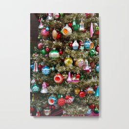 Vintage Christmas Ornaments on a Tree Metal Print