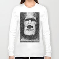 island Long Sleeve T-shirts featuring Easter island - Moai statue - Ink by Nicolas Jolly